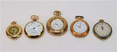 5PC Tiffany  Assorted Ladys Gold Pocket Watches