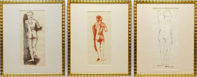 3PC Richard Prince Nude Study Drawings