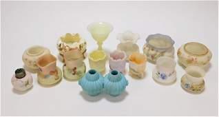 15PC Mt. Washington & Other Satin Glass Vase Group