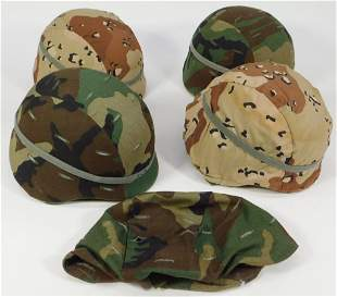 Four U.S. Army PASGT Helmets with Covers