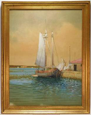 Hartwell Leon Woodcock Maritime Ship WC Painting