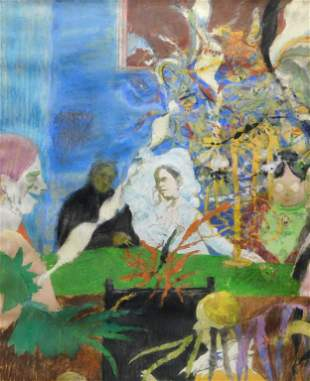 French Surrealist Figure Gouache Painting