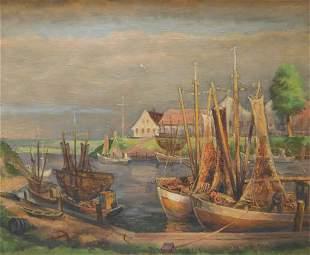 Robert Barnekow Impressionist Harbor Painting