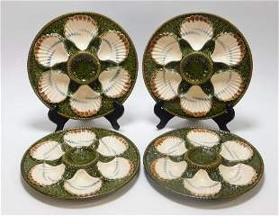 4PC Longchamp French Majolica Oyster Plates
