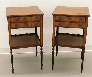 PR Federalist Style Two Drawer Inlaid Side Tables