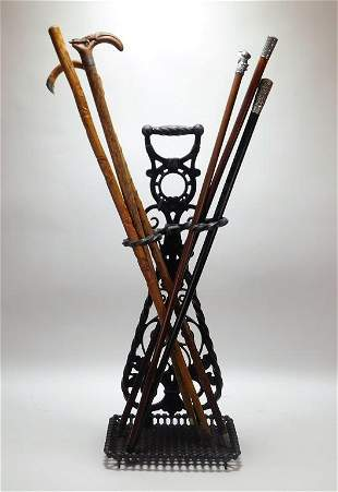 7PC Cane Walking Stick Cast Iron Stand Group