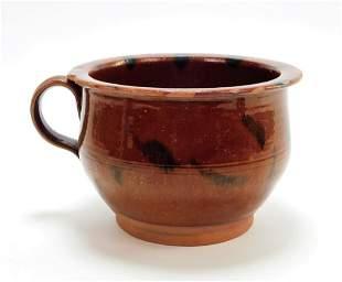Connecticut Redware Handled Pot