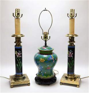 3PC Chinese Cloisonne Table Lamp