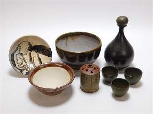 8PC American & Japanese Pottery & Stoneware Group