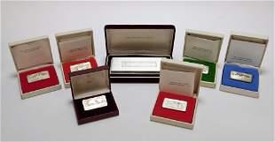 7PC Franklin Mint Holiday Sterling Silver Ingots