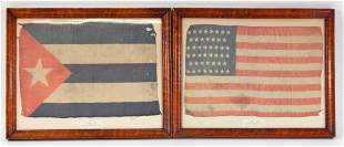 Framed American and Puerto Rican Flags