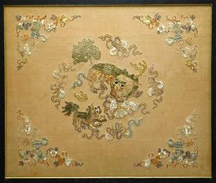 19C Chinese Foo Beast Embroidered Silk
