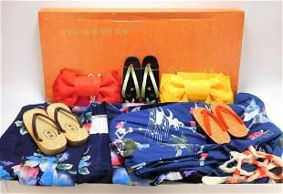 6PC Japanese Kimono Obi & Shoe Set