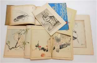 6PC Japanese Woodblock Print Books & Ink Drawings