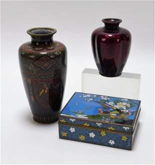 3PC Japanese Cloisonne Vase & Box Group