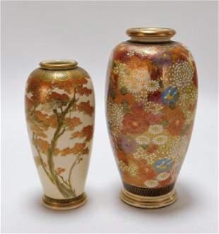 2PC Japanese Satsuma Porcelain Vases