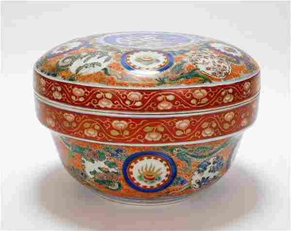 LG Japanese Imari Porcelain Covered Box