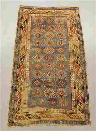 Antique Caucasian Light Blue Geometric Carpet