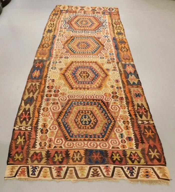 Turkish Khilim Geometric Gallery Carpet