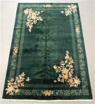 Chinese Emerald Green Floral Rug