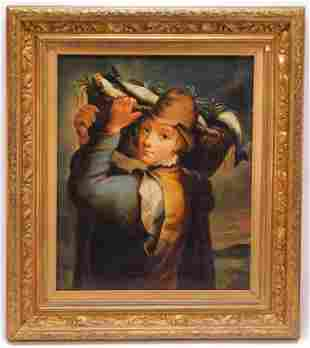 19C Italian Fisher Boy Portrait Painting