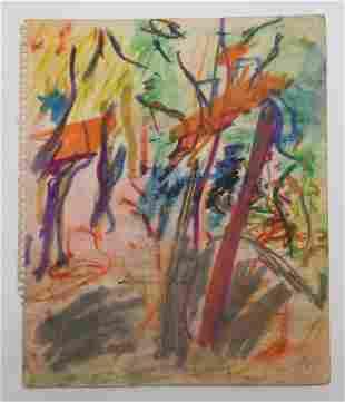 Taro Yamamoto Abstract Parisian Pastel Drawing