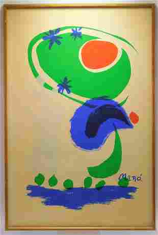 Joan Miro Abstract Curvilinear Lithograph