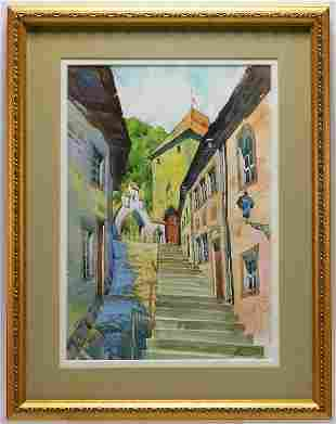 Parisian Architectural Street View WC Painting