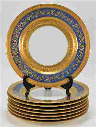 8PC Copeland Spode Blue & Gold Porcelain Plates