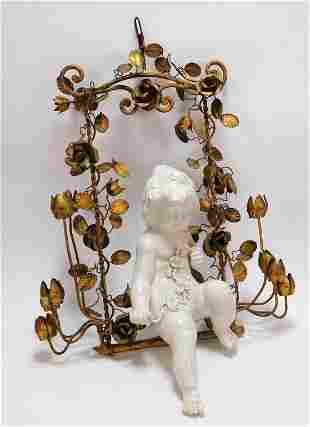 Italian Gilt Toleware & Porcelain Wall Sculpture