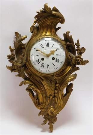 Tiffany & Co. French Gilt Cartel Wall Clock