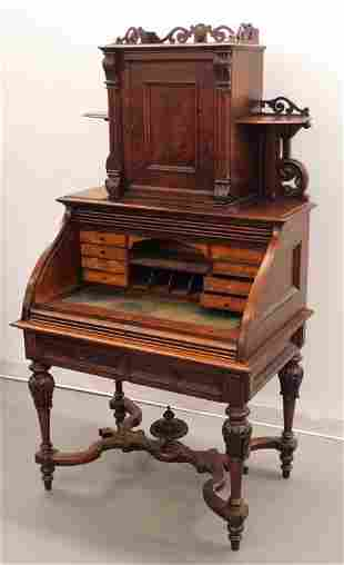 19C Victorian Carved Wood Roll Top Desk