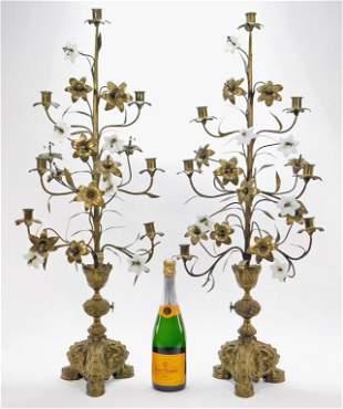 PR European Tole Brass Opaline Glass Candelabrum