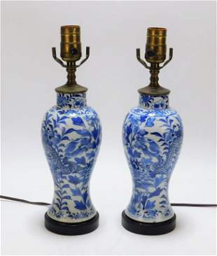 PR Chinese Blue & White Porcelain Table Lamps
