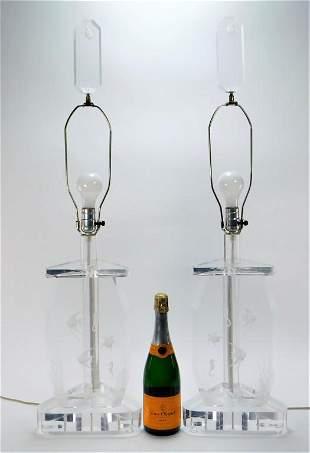 PR Modern Aquatic Lucite Table Lamps