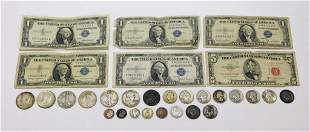 29PC Silver Coin & Other Face Currency Group