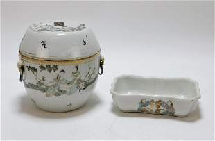 2PC Chinese Porcelain Bowl & Dish Group