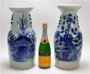 2PC Chinese Blue & White Canton Vases