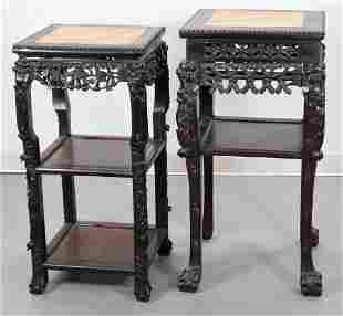 2PC Chinese Carved Wood & Rouge Marble Stands