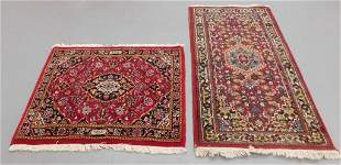 2PC Middle Eastern Floral Throw Rugs
