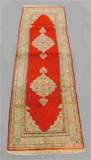 Turkish Red & Ivory Carpet Runner