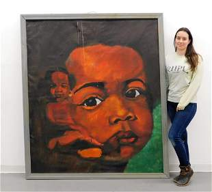 LG Modern African American Child Portrait Painting