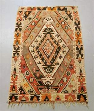 Antique Turkish Khilim Geometric Carpet