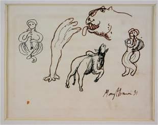 Manjit Bawa Figurative Ink Drawing
