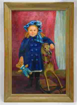 Sophie F. Mulligan Girl in Blue Portrait Painting