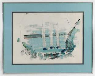 Alfred Birdsey Sailboat WC Painting