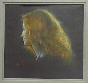 Aaron Shikler Portrait of a Woman Pastel Drawing