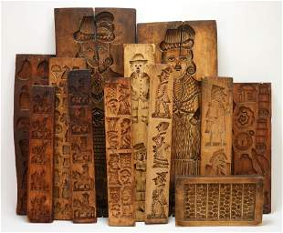 12PC Dutch Carved Wood Gingerbread Molds