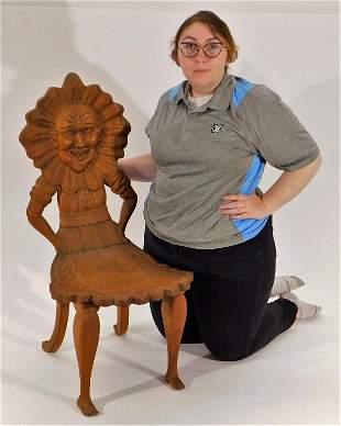 RARE C.1880 Carved Oak Carousel Horse Nanny Chair