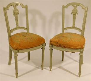 PR French Painted Needlepoint Side Chairs